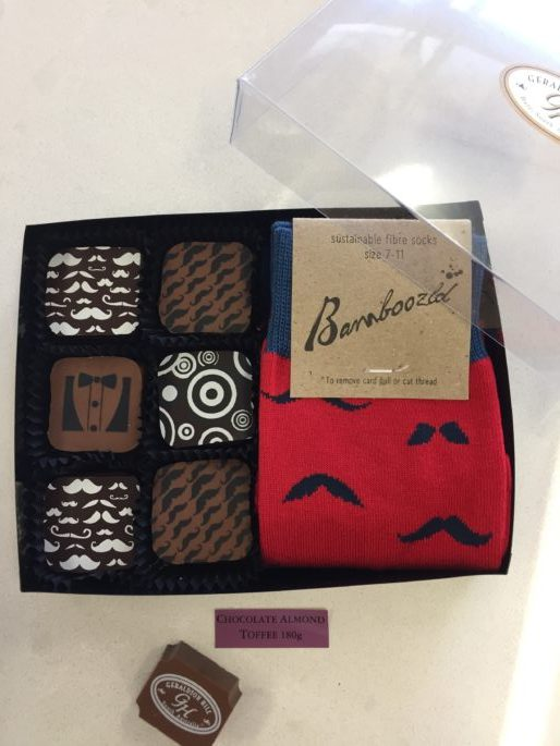 Moustache Socks and chocolate toffee squares dad gift