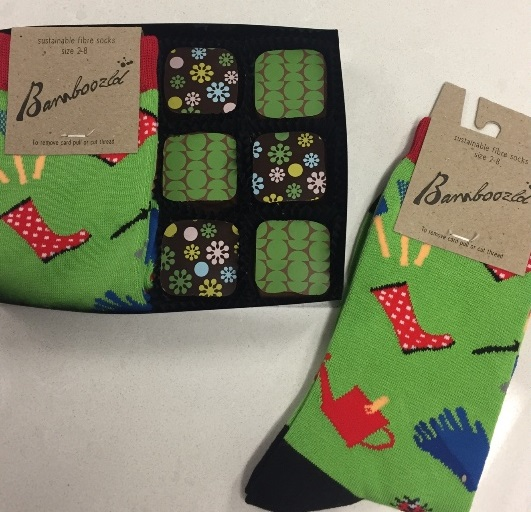 Gardening socks with toffee chocolate squares