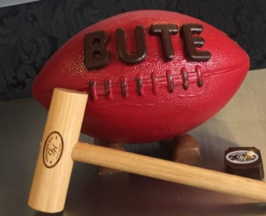 Lolly Bash Cakes Red Bute Footy with Hammer